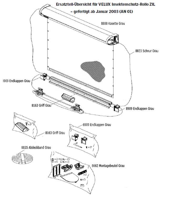 schnur f r velux insektenschutz rollo 8823 zil. Black Bedroom Furniture Sets. Home Design Ideas