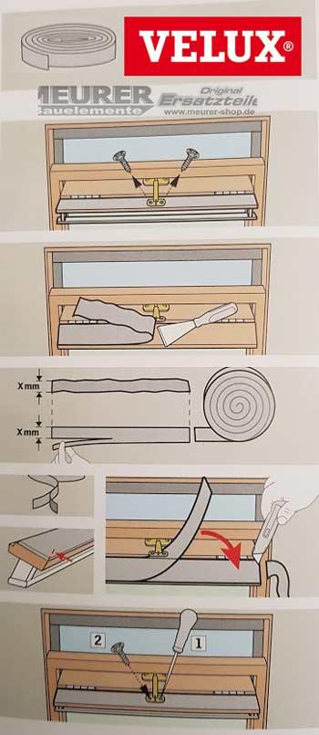 schaumdichtung selbstklebend f velux kunststoff dachfenster 230mbg124. Black Bedroom Furniture Sets. Home Design Ideas