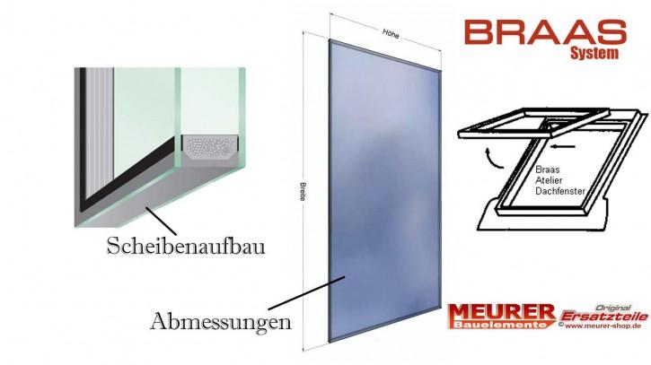 Ersatz, Austausch Glas-Scheiben für Braas Dachfenster, Maß Tabelle