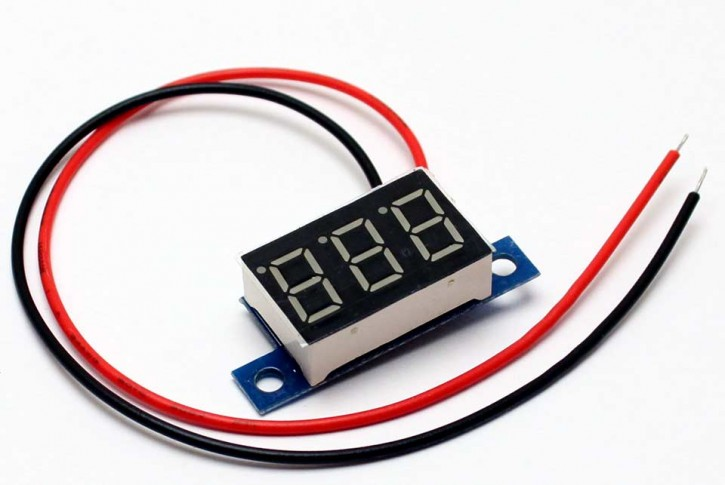 Mini Digital Voltmeter LED 3,3 - 30 Volt Akku Spannung Messen