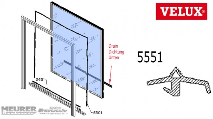 Velux Drain Dichtung 5551 Kunststoff Fensterflügel unten