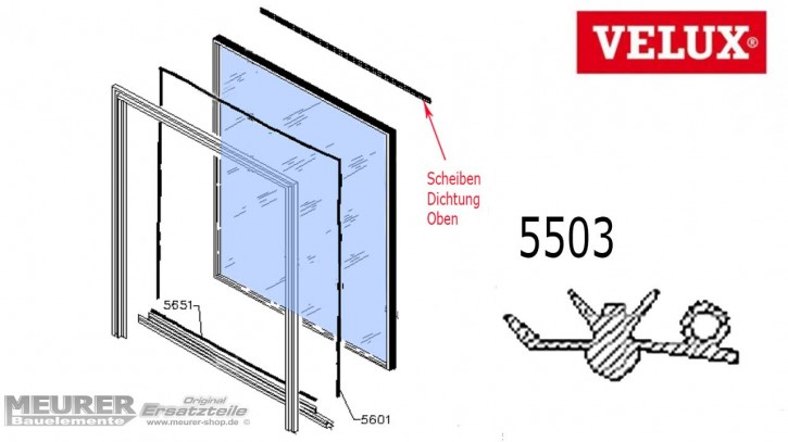 Velux Scheibenauflage Dichtung 5503 Kunststoff Fensterflügel oben