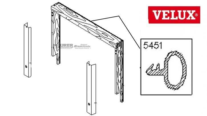 Velux Schlauchdichtung oben 5451 GPL/GDL/GTL/VK Holz Dachfenster
