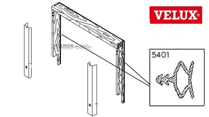 Velux Schlauchdichtung Re + Li 5401 GPL/GDL/GTL/VK Holz Dachfenster