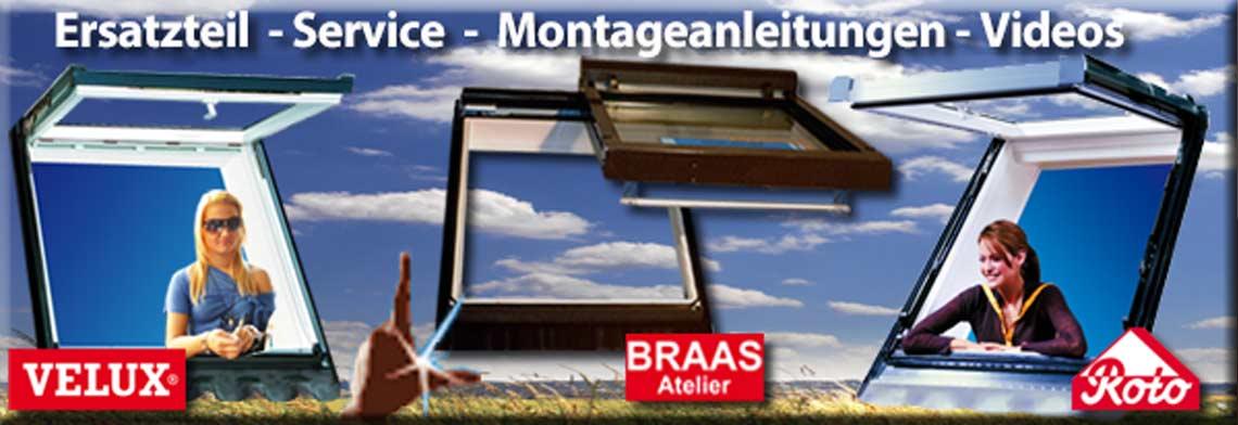 Ersatzteile für Dachfenster von Velux Roto und Braas system