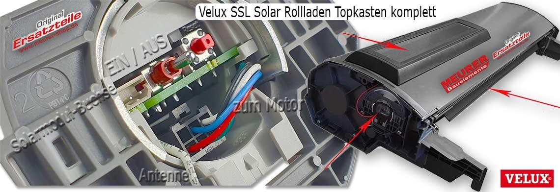 Velux SSL Solar Rollladen Topkasten komplett mit Rollladenpanzer als Ersatz für Hagelschaden usw