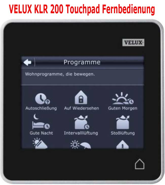 velux integra control pad klr 200 klr 200. Black Bedroom Furniture Sets. Home Design Ideas