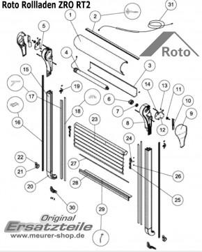 Roto ZRO RT2 Rollladen Führungsschiene Links